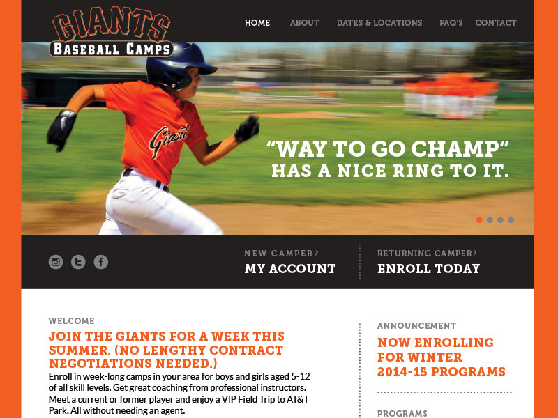 Giants Kids Camp Website